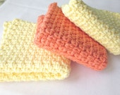 Cotton Washcloths  Crochet Face Cloths - Set of 3 - Orange and Yellow