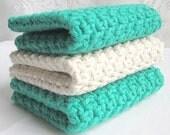 Cotton Washcloths  Crochet Face Cloths - Set of 3 - Kelly Green & Oatmeal
