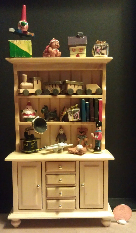 1/12th Scale Wooden Hutch with Vintage Style Toys