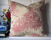 Beautiful Asian Toile  Pillow Cover accent pillow throw pillow cover