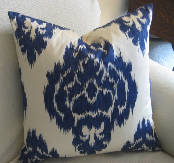 Blue IKAT Pillow Cover one 20 inch accent pillow toss pillow throw pillow