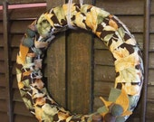 Sophia fabric wreath, hand-wrapped wreath with felt leaves and acorns, 12 in