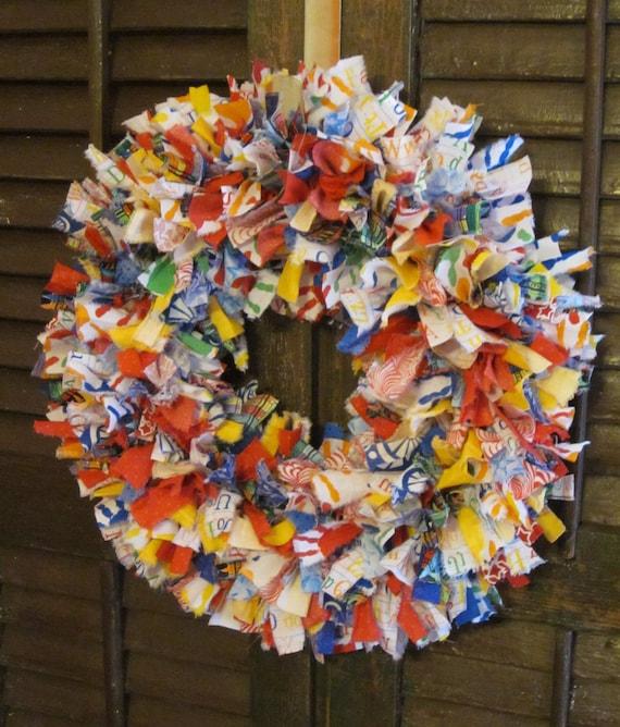 Kathy wreath, hand-tied rag wreath for teachers, 16 in