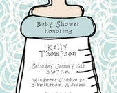 Baby Shower Invitation-  Blue Bottle