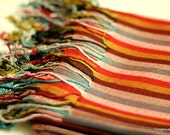 ON SALE Silk Wool Stole Cashmere Shawl Scarf Multi Color Stripes
