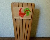 Mid Century Retro Kitchen Knife Block with Rooster