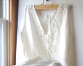 Eco Wedding Dress Ecru Vintage Elegant A line Crocheted Simple Garden Wedding