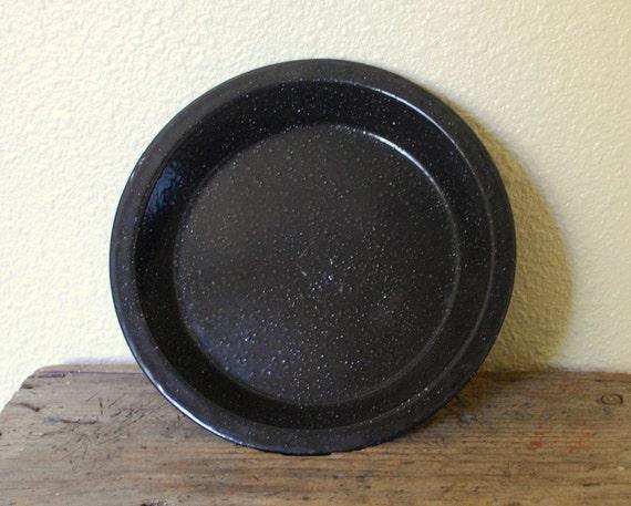RESERVED Vintage Black Enamelware Pie or Camp Plate