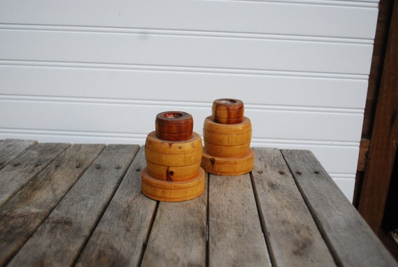 Vintage Wooden Tiered Candle Holders