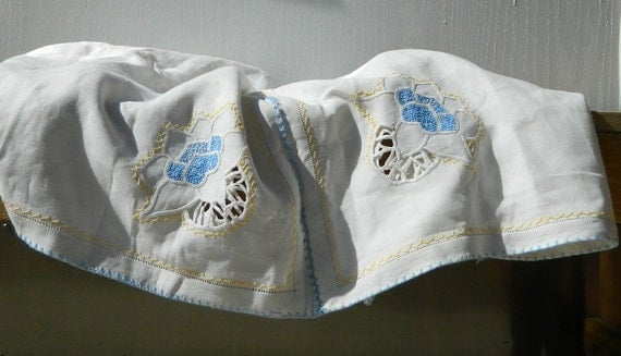 Embroidered Linen Tablecloth Antique