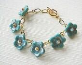 Turquoise Floral Bracelet with Swarovski Accents. Ten Dollar SALE.