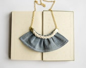 Baby Blue -  denim ruffle necklace