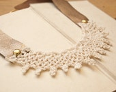 Wendy - romantic vintage lace and metallic leather collar necklace