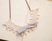 Lulu - romantic vintage lace and vintage bow necklace