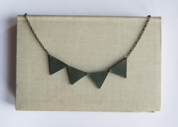 Bunting necklace in blue-green leather