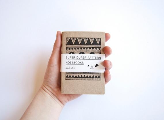SUPERPATTERN Set of 4 hand-bound geometric pattern illustrated notebooks