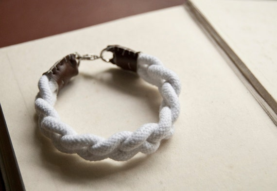 Nautical plaited ROPE BRACELET with faux-leather