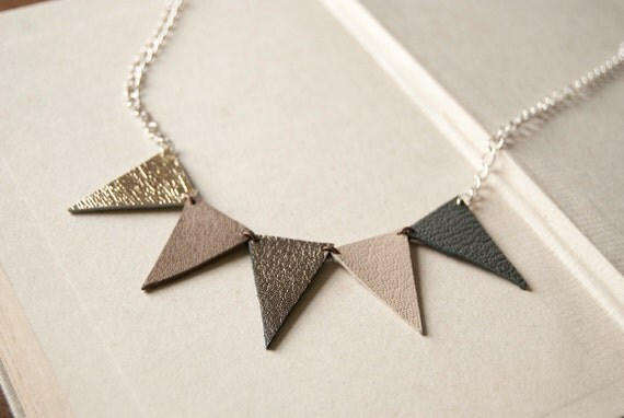 Multi-coloured leather bunting necklace