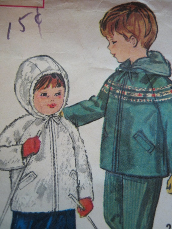 Vintage Simplicity Snow Suit Pattern 4636 For Toddler Size 2