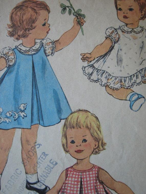 Vintage 1950s Simplicity Toddler Dress Pattern 3056 Size 2