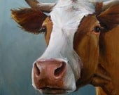 Cow Painting - Betsy - Paper Giclee Print of an original painting by Cari Humphry