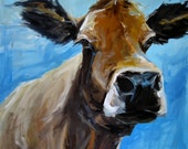 Cow Painting-  Lizzy  - Giclee print on fine art paper by Cari Humphry