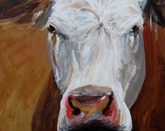 Cow Painting - Abigail - Print of Original Painting by Cari Humphry