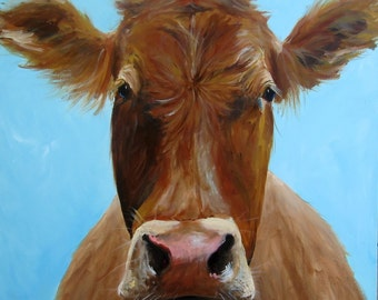 Iris the Cow - Giclee Canvas or Paper Print of an original painting