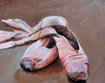 Ballet Painting Ballet Shoes - Paper Print of an Original Acrylic Painting by Cari Humphry
