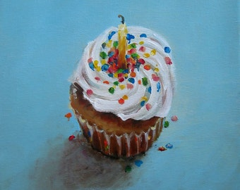 Birthday Cupcake - Giclee print of an Original Painting on fine art paper by Cari Humphry
