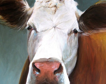 Nora the Cow - Paper Print of an Original Painting by Cari Humphry