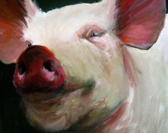 Pig Painting-  Parker the Pig - Paper Giclee Reproduction of an Original Painting by Cari Humphry