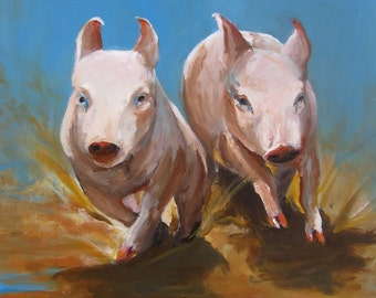 Pig Painting- Pig Sooie - Print on Paper of an Original Painting by Cari Humphry