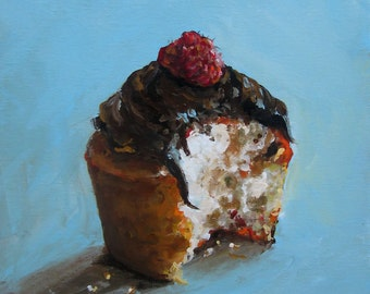 Cupcake Painting-  Just One Bite  - Paper Giclee print by Cari Humphry