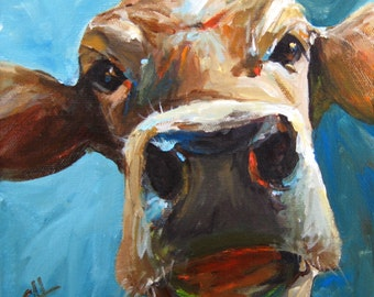 Cow Painting - Elise the Cow - fine art paper print by Cari Humphry