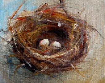 Two Egg Nest Painting- Print - Paper Giclee Reproduction of an Original Painting by Cari Humphry