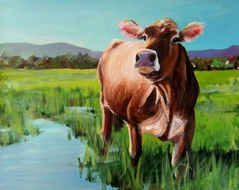 Cow Painting - Spring Pasture -Canvas or Paper Giclee Reproduction