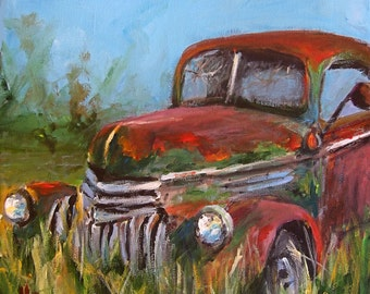 Forgotten - Canvas or Paper Print of an Original Painting of an Old Antique Truck