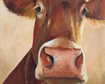 Cow Painting - Camile - Canvas or Paper Giclee Print of an original painting