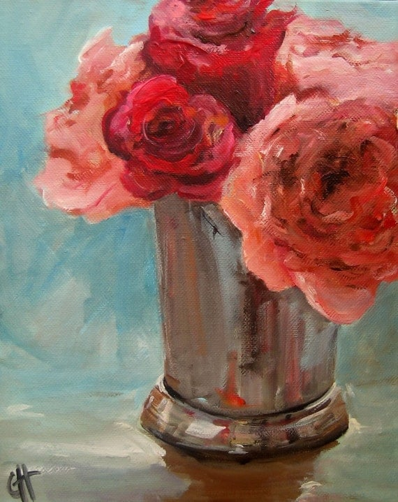 Pink and Red Roses - Print of an Original Painting - 6x7.5 on 8x10 matte paper