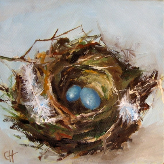Reserved - Nest Painting Bird Nest Print on Canvas 5x5