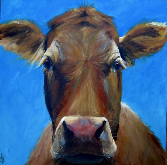 Reserved - Cow Painting Marie Paper Giclee Print  24x24
