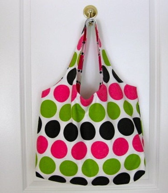 SALE - Large Tote Bag Ultimate Honeysuckle and Chartreuse Dot