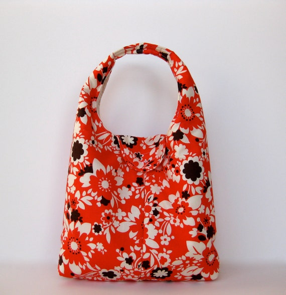 Lunch Bag Insulated Eco Friendly Washable - Coral Red Floral With Brown Pops