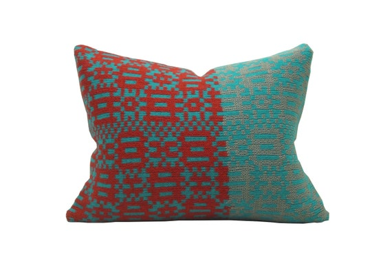 """12""""x16"""" Urban Geometric Merino and Cotton Knit Pillow Red and Turquoise"""