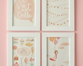 La Vie est Belle - FOR FRAMING Set of 4 prints and 1 FREE