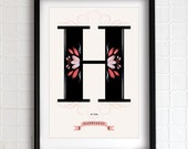 H is for HAPPINESS art print - typographical poster - 13x19