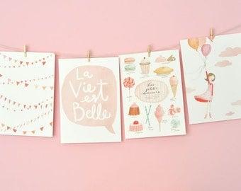 La Vie est Belle - NOT FOR FRAMING - Set of 4 prints and 1 FREE