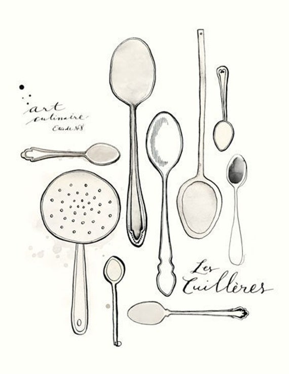 Les Cuilleres 8.5x11 -Art culinaire- Collection