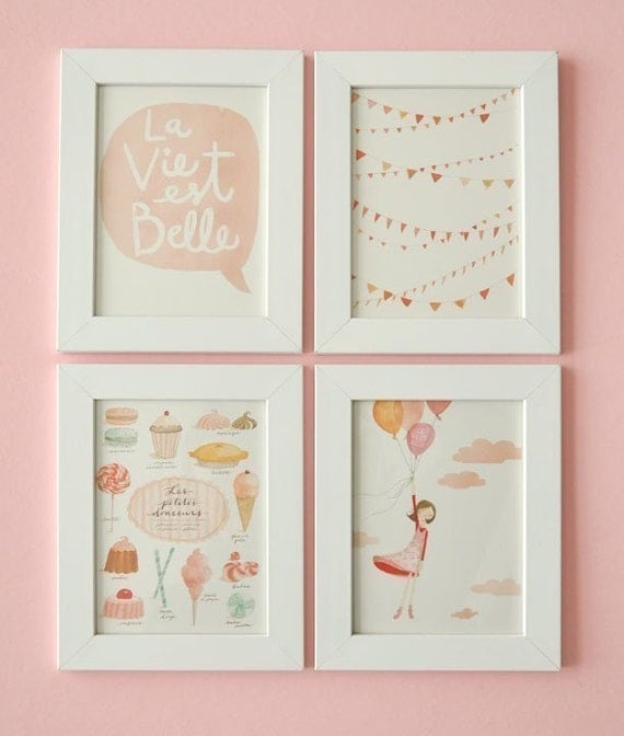 la vie est belle for framing set of 4 prints and 1 free